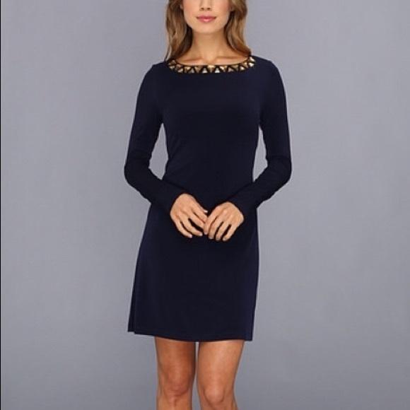 440351ab 🍭VINCE CAMUTO Long Sleeve beaded neck blue dress.  M_5aaefca245b30cbe91a87fc3